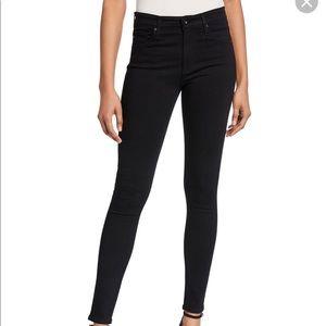 AG Farrah Black High Waist Denim Skinny Jeans